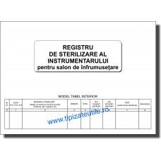 Registru de sterilizare a instrumentarului pentru salon de infrumusetare
