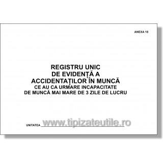 Registru unic de evidenta a accidentatilor in munca ce au ca urmare incapacitate de lucru mai mare de 3 zile - Anexa 18